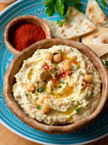 Hummus with roasted Palacios chorizo